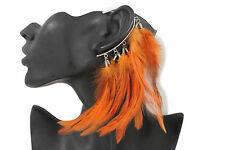 New Women Long Genuine Feather Orange Drop Fashion One Side Earring Hook Peacock