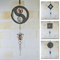 "Metal 15.7"" Hanging Garden Wind Spinner Round Crystal Garden Or Home Ornament CA"