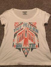 True Religion Womens Graphic Tee Size Med Shirt EUC Free Bird Short Sleeve White