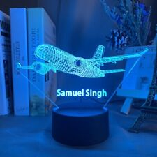 Custom Name Airplane Night Light 7 Color Change LED Desk Lamp Touch Decor Gift