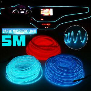 5M LED Car Interior Atmosphere Glow Wire Neon String Strip Light Decor Lamp