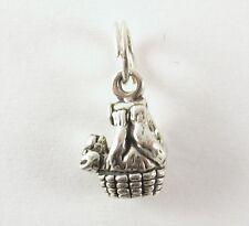 Miniatura Oso Cesta Colgante Charm .925 Plata de ley joyería oso pardo US MADE