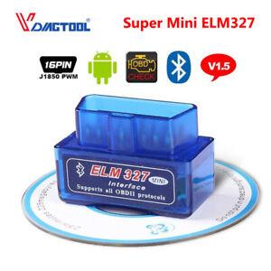 Super Mini ELM327 Bluetooth V1.5 OBD2 Car Diagnostic Scanner Android Torque Tool