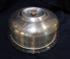 "Var. Glass Plates For 10"" Art Deco Mid-Cent Chrome Aluminum Cake Carrier Saver"