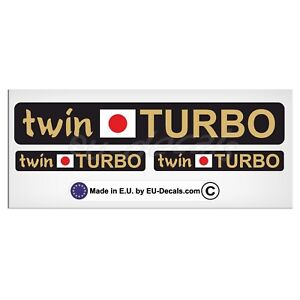 Set Twin Turbo japan flag Gold letters Laminated Decal Sticker JDM