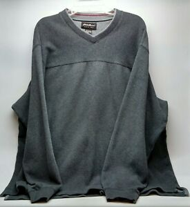 Eddie Bauer Mens Sweater Shirt Size XL Gray V-Neck Long Sleeve