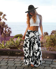 Maxi Linen Floral Black and White Skirt Flare Hand Painted One Size 100% Linen