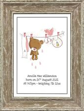 Personalised Nursery Wall Art Clothes Line New Baby Nursery Gifts A4 Prints Only