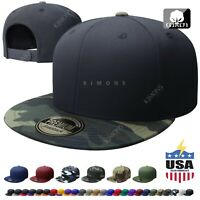 Cotton Snapback Hat Hip Hop Baseball Cap Solid Plain Flat Men Military Two Tone