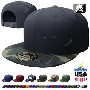 Cotton Snapback Hat Hip Hop Baseball Cap Solid Plain Flat Men Army Two Tone CS