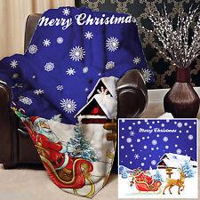 Papa Noel Trineo Azul Diseño Vellón Suave Manta Funda Colcha sofá cama grande