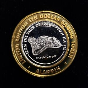 $10 .999 SILVER ALADDIN LAS VEGAS LIMITED EDITION CASINO TOKEN Lot#AC79