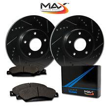 2009 Fits Kia Spectra 5 Black Slot Drill Rotors Metallic Pads F