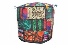 """Indian Black 22"""" Vintage Ottoman Round Pouf Cover Footstool Seating Chair Covers"""