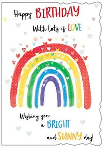 Happy Birthday With Lots Of Love. Fun Rainbow Hearts Card For Female