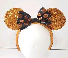 Disney Parks Minnie Mouse Halloween Ears Orange Black Sequin Headband