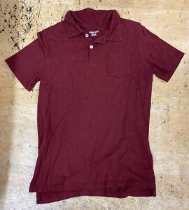 Cherokee Boy Tee T-Shirt Cotton Active BURGUNDY Polo Athletics L 12-14