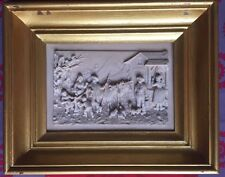 Sculpture bas relief calcaire XIXe signé C.F. Backer