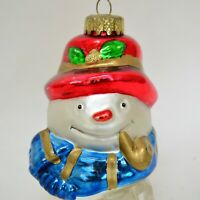 Vintage Blown Glass Snowman Head Christmas Ornament