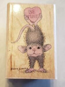 STAMPABILITIES HOUSE MOUSE RUBBER MOUNTED STAMP BE MINE HEART & SOLE