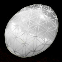 Selenite Palm Stone Etched Flower Life Crystal Healing Reiki Polish Worry Stone