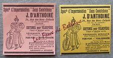 Publicité COSTUMES POUR VELOCIPEDE D ANTHOINE PARIS    advert 1898