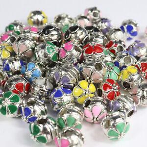 5PCS Colour Enamel Flower Silver European Charm Beads Locks Clips Stoppers