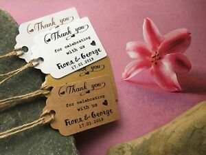 Personalised Thank you Tags Thanks Wedding special day Craft Handmade 70761