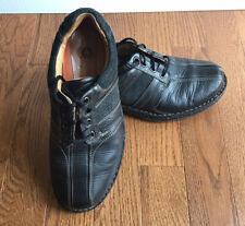 Clarks Unstructured Black Leather Bicycle Toe Lace Up Oxford Shoes Mens SZ 9.5 W