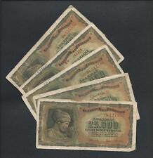 GREECE 5 x Banknotes 25000 Drachmas 1943 Circulated.