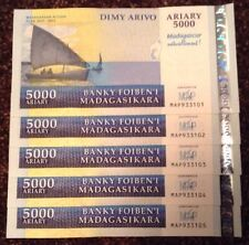 Lot Of 5 X Madagascar Banknotes. 5000 Ariary. Commemorative Map Issue. Unc.