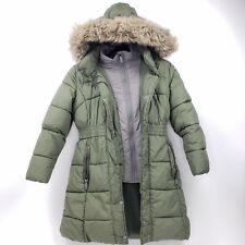 Weatherproof 1948 Expedition Olive Puffer Coat Faux Fur Trim Hood Women's size M