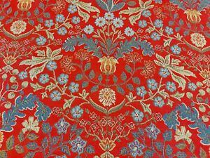 Barrington Morris Red Tapestry Curtain Upholstery Fabric Navy Red Green Fabric