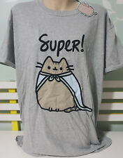 FEMALE 2XL TWO EXTRA LARGE SHIRT AWESOME! PUSHEEN SUPER CAT SHIRT GREY!