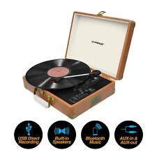 NEW mbeat USB Vinyl Turntable Vintage Record Player Leather Bluetooth
