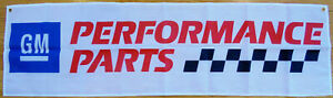 GM Parts Flag Garage Mancave Car Performance Mechanic Racing White Banner 58X18