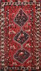 Vintage Tribal Traditional Geometric Abadeh Area Rug Oriental Hand-Knotted 4x5