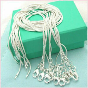 5/10PCS 1mm Solid Silver Sterling 925 Snake Chain Necklace Pendant 22 inch Gift
