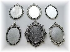 6 Mixed Ant. Silvertone 40mm x 30mm CAMEO Costume PENDANTS Frame Setting LOT A