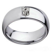 Silver NFL Football Team Stainless Steel Men's Ring 8mm Band Size 6-13