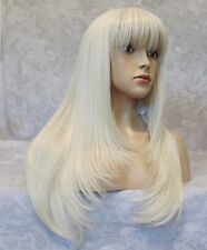 Long Straight Silky White Blonde High Heat Ok Full Synthetic Wig - 2218