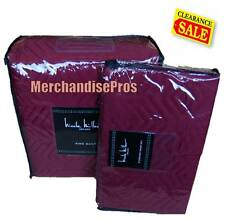3 Pc Nicole Miller Solid King Mulberry Quilt Set With Standard Shams 104x96 New!