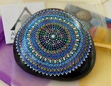 Very Large Hand Painted Alchemy Amplification Stone w. Blues, Violet, White Gold