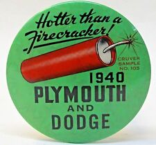 rare 1940 PLYMOUTH & DODGE  celluloid SAMPLE paperweight pocket mirror *
