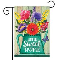 "Home Sweet Home Spring Garden Flag Rustic Watering Can Floral 12.5"" x 18"""