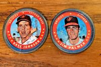 1971 Topps COINS #2 Dave Johnson and #90 Jim Palmer - Orioles