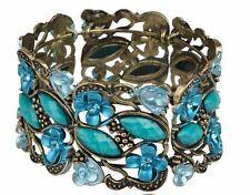 Antique Lk Gold Blue Turquoise Teal Jewel Stone Rhinestone Bangle Cuff Bracelet