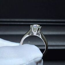 Engagement Ring Sterling Silver Ring 1.76Ct Off White Round Forever Moissanite