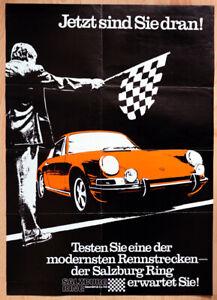 """org. Plakat Poster """"2 Legenden 1970"""" Salzburgring und der Salzburg Porsche 911"""