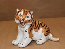 "VTG Pottery Tiger Figurine Fabric Gardner Verbilky Verbilki Russia 3 5/8"" X 4.5"""